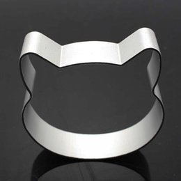 Wholesale Christmas Cookie Shapes - Wholesale- Cat Head Shaped Christmas Kitchen Tools Aluminium Alloy Fondant Cookie Cake Sugarcraft Plunger Cutter Free Shipping