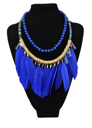 Wholesale Bull Jewelry - Vintage style Bull Crystal Resin Beads Feather Tassel Pendant Braided Rope Chain Earrings Necklace Jewelry Set