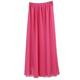 Wholesale long black chiffon maxi skirt - Wholesale- Wholesale Women Chiffon Long Skirts Candy Color Pleated Maxi Skirts 2017 Spring Summer Skirts saia feminina Solid Faldas