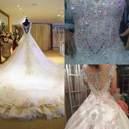 Wholesale cathedral wedding dresses blue - Luxury 2015 Wedding Dresses V Tulle Beaded Crystal Bridal Gowns Short Sleeves Cathedral Train Ball Gown Wedding Dresses UM1954