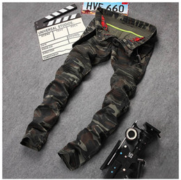 Wholesale Mens Military Slim Fit - New Mens Camouflage Jeans Motocycle Camo Military Slim Fit Famous Designer Biker Jeans With Zippers Men AY971