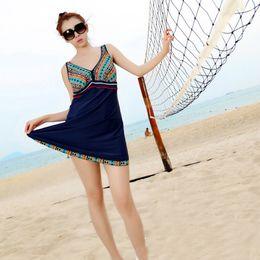 Wholesale Tankini Skirted Swimsuit - High Quality 2016 Sexy Womens One Piece Swimsuit Summer Backless Mini Swim Dress Folk Style Tankini Skirt Swimwear Big Size 4XL