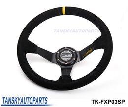 Wholesale Tansky Wheel - Tansky - High Quality SP 350mm 14inch Deep Dished Sport Racing Suede Leather Alloy Steering Wheel DRIFTING TK-FXP03SP