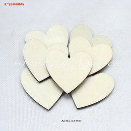 "Wholesale Wooden Craft Shapes Wholesale - (80pcs lot) Unfinished blank wooden heart supplies cut outs wood heart shape wedding crafts 2"",50MM-CT1107"