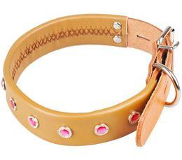 Wholesale Dog Collar Leather Diamond - 100% True Leather Dog Cat Fashion Collar&Leash Adjustable Diamond Dog Collar Big Pet Collar Pet Supplier Mix Order S,M,L Size Min Order 5PCS