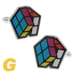 Wholesale Cloth Cubes - High Quality New Classic Silver Copper Mens Wedding Cufflinks Novelty Rare Fancy Magic Cube & Clean Cloth 170149