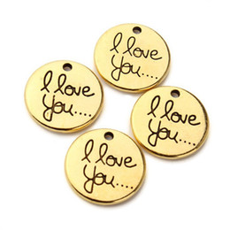 Wholesale Jewellery Wholesale Findings - 50pcs lot Antique Gold Round Charms I Love You Charms jewellery pendant Diy Finding 20mm