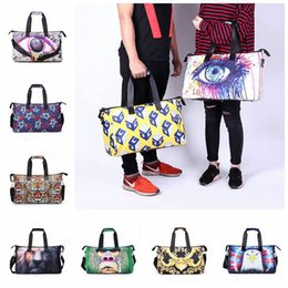 Wholesale Large Lion - 3D Printed Luggage Bags Lion Face Graphic Printed Handbag Travel Soft Sports Bag Large Capacity Oxford Bags 11 Styles 10pcs OOA3802