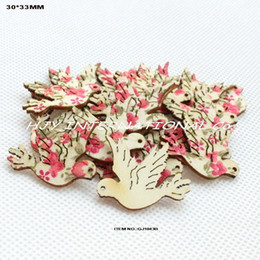 Wholesale Wooden Flower Clip - (120pcs lot) Red flower fabric doves topper wooden back crafts brooch bobby pin hair clips bird -GJ1043