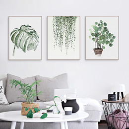 Wholesale Sheet Frames - Nordic Minimalist Watercolor Green Plant Leaf Posters A4 Living Room Wall Art Canvas Painting Home Decor Print Pictures No Frame