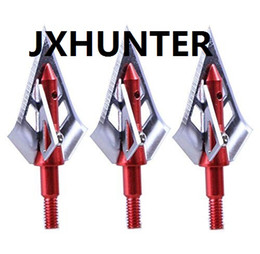 Wholesale Hunt Bow - 6 pieces Red Fighter 4 Blades 100 grain arrow points tips broadheads for compound bow hunting