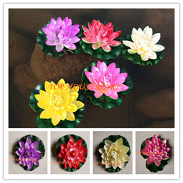 Wholesale Fish Display Tanks - 30pcs 18cm L size artificial lotus flower water lily wedding fish tank features decoration