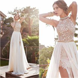 Wholesale Halter Wedding Dresses Slit - Vintage 2015 Julie Vino Summer A-line Lace Wedding Dresses New Halter Backless Lace High Slit Chiffon A-line Beach PromEvening Gowns BO5557