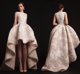 Wholesale Yellow Formal High Low Dresses - Champagne High Low Lace Evening Dresses 2017 Gorgeous Ckikor Jabotian Prom Dresses Ball Gown Appliqued Formal Dresses