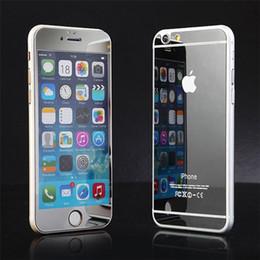 Canada Film de protection en verre coloré pour iPhone6 6s plus 5 5s Film de protection d'écran avant Miroir Film de protection en verre trempé Argent Or Offre