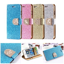 Wholesale Galaxy S4 Luxury Wallet Gold - For Galaxy S6 S7 EDGE Luxury Glitter Bling Crystal Diamond PU Leather Wallet Case For Samsung S5 S4 Bling case iPhone 6 6s plus 5 5s 4 4s