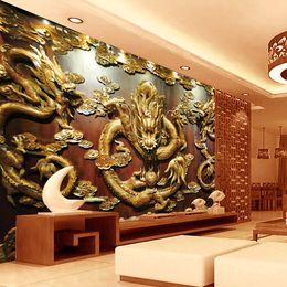 Decoración de madera del arte online-Custom 3D Wallpaper talla de madera Dragon Photo wallpaper estilo chino Wall Murals Art Room decor Dormitorio Sala de estar oficina decoración del hogar