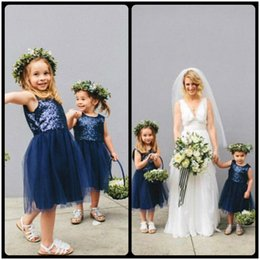 Wholesale Sequin Tops For Girls - 2016 New Arrival A Line Top Sequins Flowers Girl Dresses For Weddings Navy Blue First Communion Dress Christmas Dresses