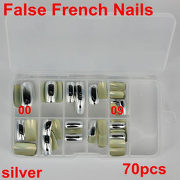 Wholesale Nail Tip Wrap - 70Pcs 10 sizes Acrylic UV Gel False French nail Fake Nail Art Design wrap Tips Metallic Shiny Silver Free Shipping packed box