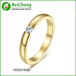 Wholesale Three Color Gold Ring - BC Jewelry Fashion Imitation Diamond Jewelry Wedding Ring Austria Cubic Zirconia Stainless Steel Ring Three Color Free Shipping BC-208