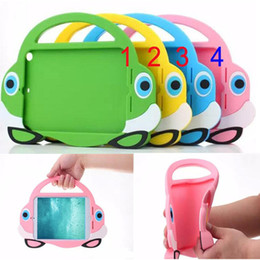 Wholesale Handle Bag Ipad - Cartoon Car Tote Tablet Silicone Cases with One Handle Carry Bag Shockproof Kids Tablet Cases Cute Smart Cover for iPad Mini Mini2 3
