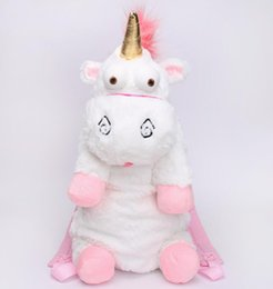 Wholesale Shool Bags - white Unicorn backpacks great gift for Kid 2017 Plush Cartoon Doll Soft Stuffed Toy Fluffy shool Bag 50CM