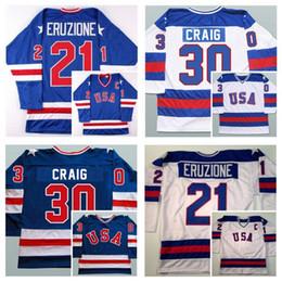 Wholesale Usa Mike - 1980 Olympic USA MIRACLE Hockey Jersey 30 Jim Craig 21 Mike Eruzione 17 Jack O'Callahan Vintage Throwback White Royal Blue Stitched