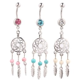 Wholesale Art Bell - Body Jewelry Crystal Gem Dream Catcher Navel Dangle Belly Barbell Button Bar Ring Body piercing Art