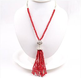 Wholesale New China Sweaters - Women Tassel Pendant Necklace Long Sweater Chain Bead Necklace New Fashion High Quality for Wholesale Free Shipping