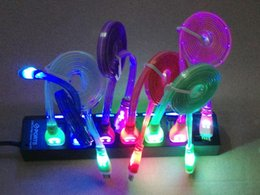 Wholesale Smiley Face Led Light - Colorful LED light visible Micro USB V8 Charger Cable Data Smiley face Flashing 1M Noodle flat Streamer Charging Cords for Samsung S3 S4 100