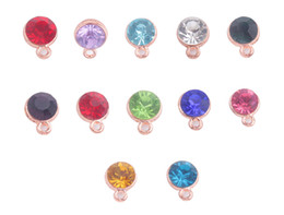 Wholesale Gold Birthstone - New Arrive 48PCS Fashion Assorted of Rose Gold Base Mixed colors Rhinestone Birthstone Charms for sale #91532
