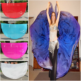 Wholesale Half Circle - Half Circle Veils Belly Dance Silk Veils Butterfly Moths Wings 2pcs lot