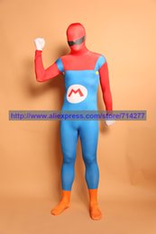 Wholesale Super Mario Overalls - Wholesale-Custom Made Classic Super Mario Overalls Lycra Spandex Zentai Halloween Cosplay Costume Christmas Gift
