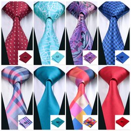 Wholesale Red Knit Tops - Classic Mens Ties Set Top 40 Styles Necktie Set Hanky Cufflinks Silk Tie Jacquard Woven Business Meeting Casual