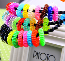 Wholesale Telephone Cord Hair - 10%off 50pcs Telephone Cord Elastic Rubber Band Girls and Women Practical For Horsetail Ring Tie Hair Accessories Headwear