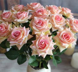 """Wholesale Artificial Hot Pink Roses Wholesale - Velet Roses 50cm 19.7"""" Length 10Pcs lot Artificial Single Rose Red Pink Wine Red Hot Pink Purple Cream for Wedding Flower"""