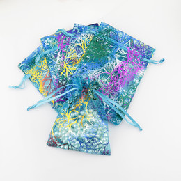 Wholesale Organza Bags Wholesale Blue - Wholesale 100pcs Blue Coral Organza Bags 9x12cm Small Wedding Gift Bag Cute Candy Jewelry Packaging Bags Drawstring Pouch