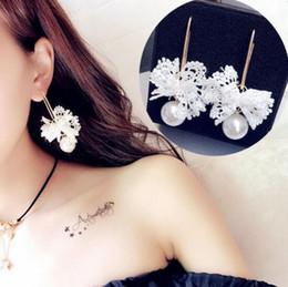 Wholesale Korean Handmade Earrings - Korean lace bowknot big pearl earrings exaggerated sweet weaving handmade earrings fashionable women earrings free shipping