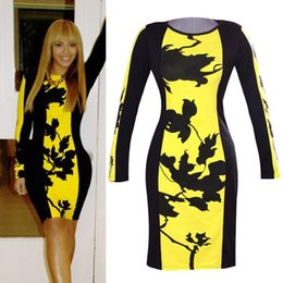 Wholesale Designer Lady S Dresses - women Bodycon dress autumn winter dress lady plus size 2014 new designer yellow printed casual dresses