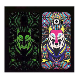 Wholesale Owl Iphone 4s Cases - Fluorescent Noctilucent Cartoon Animal Tiger OWL Wolf Design PC Cover Case For iPhone 4s 5s 6  6 plus Samsung Galaxy S6  S6 edge