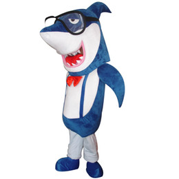 Wholesale Lowest Mascot Prices - White Shark Children Show Clothing Mascot Costume White Shark With Glasses Party Garment Wholesale Carnival Factory Wholesale low Price
