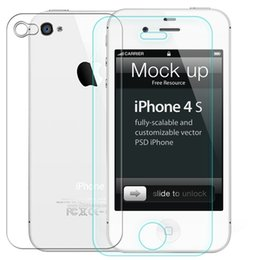 Wholesale Iphone 4s Front Screen Protectors - 0.3mm One Front one Back Tempered Glass for iPhone 4 4s 2.5D Arc Edge Screen Protector with Clean Tools A5