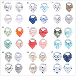 Wholesale Toddler Baby Bibs - 4Pcs set 126 styles free shipping Baby Cotton Bibs Print Soft Bandana Newborn Toddler Triangle Scarf Infant Burp Cloth Saliva Towel SEN050