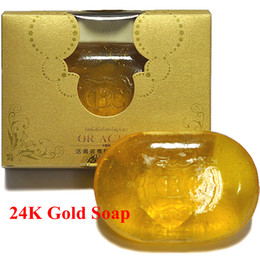 Wholesale Skin Whitening Essential Oils - 24K Gold Soap Skin Whitening Facial and Body Bath Essential Oil Soap Anti Wrinkle Soap Anti Aging Soap 120g pc with Retail Box