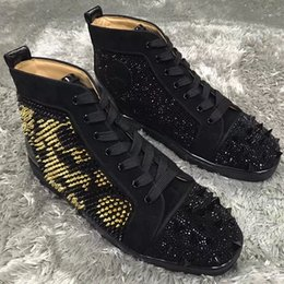 Wholesale Italian Black Leather Sneakers Men - Italian-made Black Stone,High Top Golden,Sliver Spikes Sneakers Shoes Women,Men Red Bottom Rivets Lace-up Perfect Luxury Leisure Flats