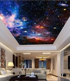 Пользовательские фрески 3D звезда Туманность ночное небо стены живопись потолок оспа обои спальня ТВ фон Галактика тема обои от Поставщики полосатые обои металлические