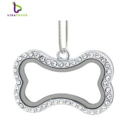 "Wholesale Glass Pendants For Necklaces Wholesale - 2016 Hot !! Silver magnetic glass floating charm locket ""Bone""+Rhainstone (chains included for free) LSFL039-1"