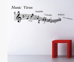 Wholesale Paper Planes Music - music note wall decal 3d vinyl sticker self adhesive sticker paper home wall decoration accessories gift