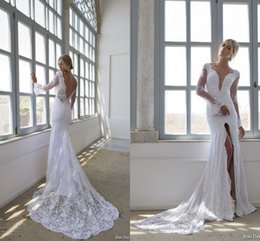 Wholesale Long Backless Mermaid Wedding Dresses - Long Sleeves Mermaid Wedding Dresses Inspired by Riki Dalal Desinger Wedding Gowns V Neck Backless Lace Sexy Bridal Gowns with High Split