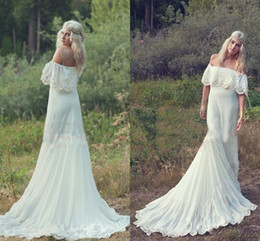 Wholesale Ivory Cream Wedding Dresses - 2017 Bohemian Styles A Line Cheap Wedding Dresses Hippie Bohemian Bridal Dress Cream Ivory Off The Shoulder Lace Ruffle Trim Bridal Gowns